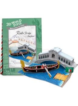 Puzzle 3D puente de Rialto de Venecia 29 piezas
