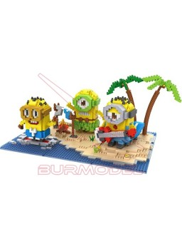 Juego para montar Minions en la playa 1860 bloques