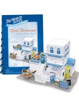 Puzzle 3 dimensiones Restaurante Griego 39 piezas