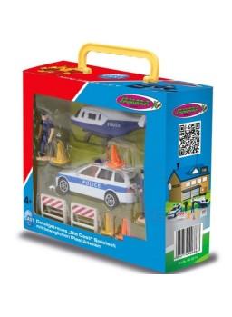 Coche y helicóptero de policía con accesorios