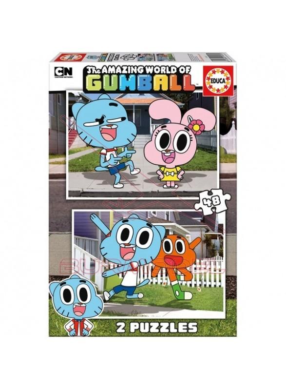 Puzzles 2x48 piezas El Asombroso Mundo de Gumball