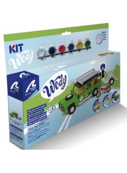 Maqueta madera infantil coche todo terreno y moto