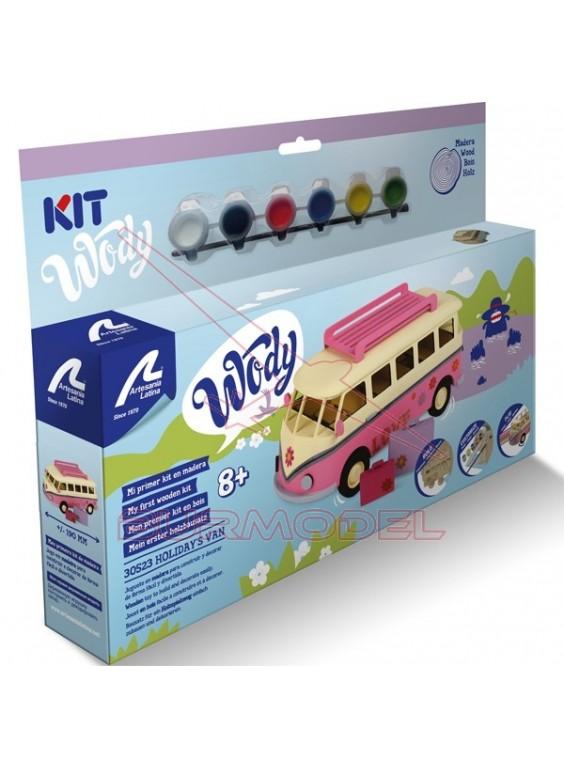 Maqueta madera infantil furgoneta hippie