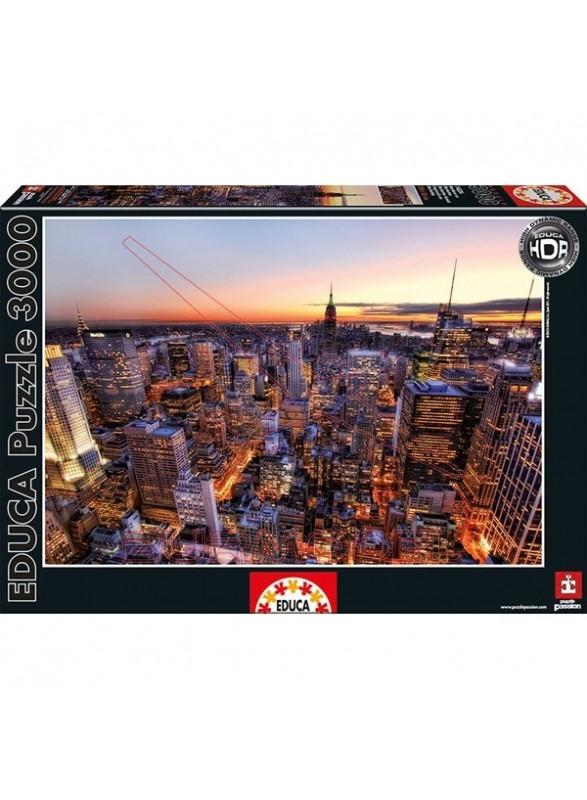 Puzzle 3000 piezas Atardecer en Manhattan