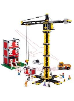 Juego para construir grúa de obra y edificio 1461 piezas