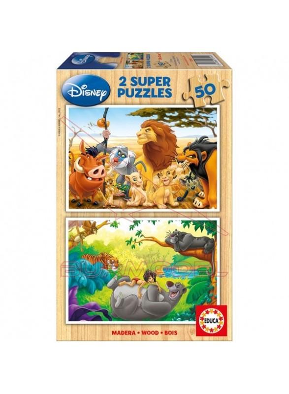 Puzzle 2x50 piezas animal friends
