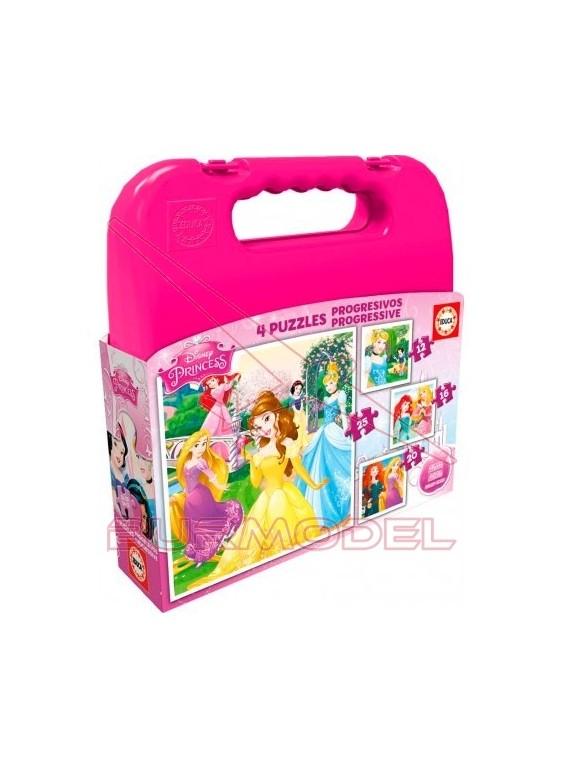 Puzzle progresivo Princesas Disney en maleta