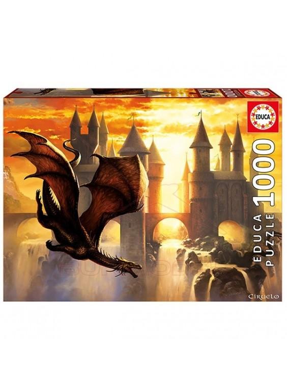 Puzzle 1000 piezas Educa Sunset dragon. Ciruelo