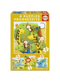 Puzzles progresivos Animales salvajes 12-16-20-25