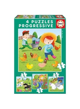 Puzzles progresivos Animales granja 6-9-12-16 pzs