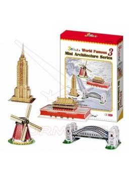 Puzzle 3D Set de 4 edificios 100 piezas