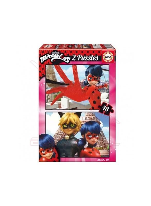 Puzzle Miraculous Lady Bug 2x48 piezas