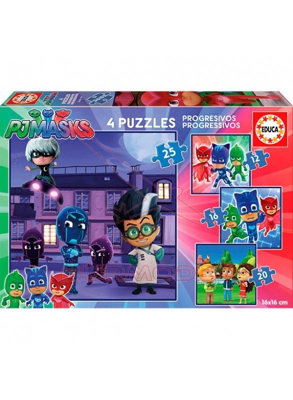 4 Puzzles Progresivos 12,16,20 y 25 Pjmasks