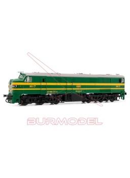 Locomotora diésel RENFE 316.017 verde y amarillo