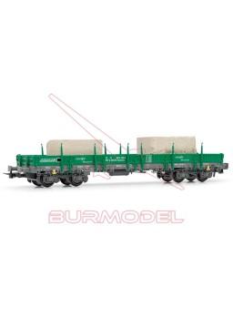 Vagón tipo Rmms RENFE con bloques de hormigón