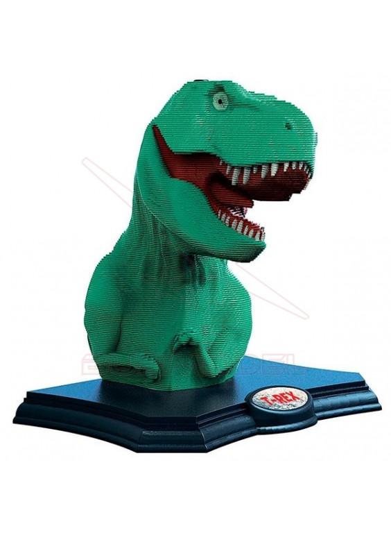 Escultura con 160 piezas de cartón T-Rex