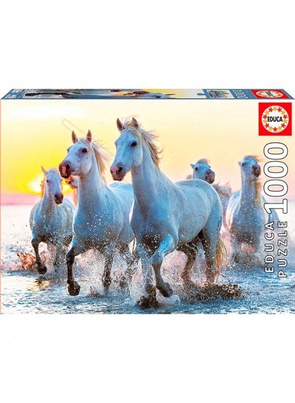 Puzzle Caballos blancos al atardecer 1000 pzs