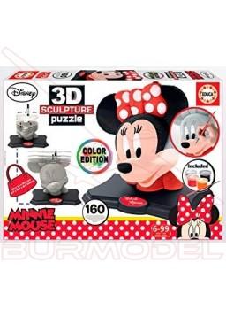Escultura puzzle 3D Minnie con pintura 160 piezas