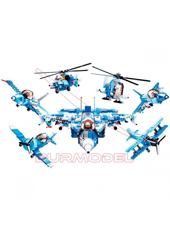 Sluban Army 6 en 1 Construcción Aviones 728 piezas