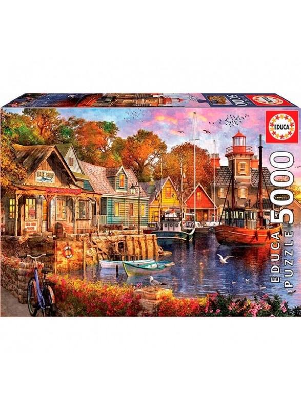 Puzzle 5000 piezas atardecer en el puerto