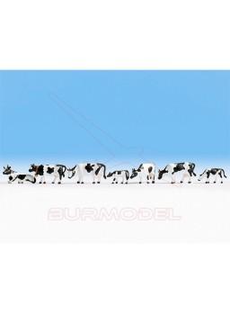 Vacas blancas y negras escala TT 1/120