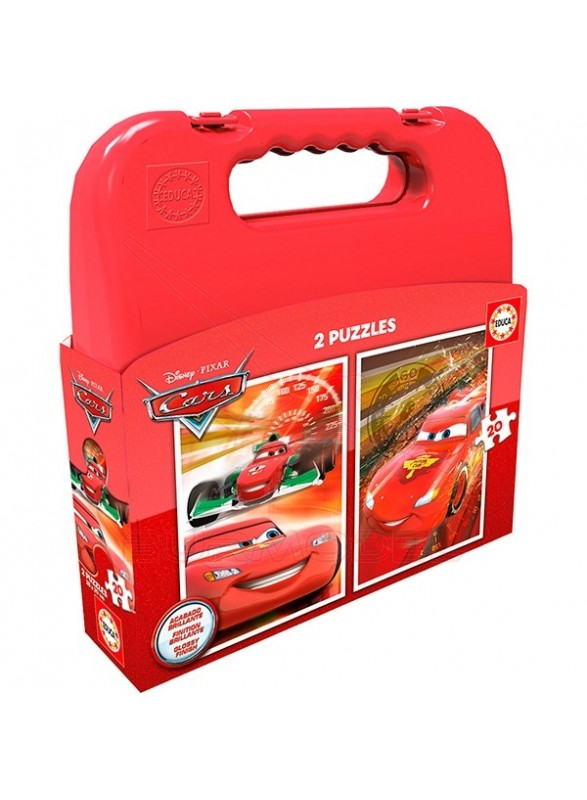 Set Puzzles 2x20 piezas Cars Maleta