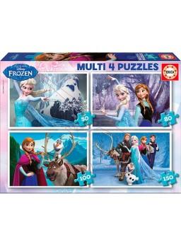 Multi 4 puzzles frozen 50-80-100-150 piezas