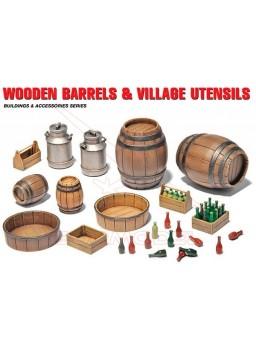 Barriles de madera y accesorios 1/35 MiniArt