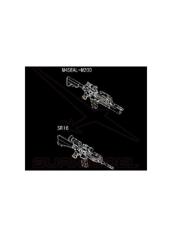 Maqueta armas AR15-M16-M4 Fam. M4R.A.S 1:35