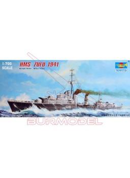 Maqueta barcoHMS ZULU (F18)1941 1:700