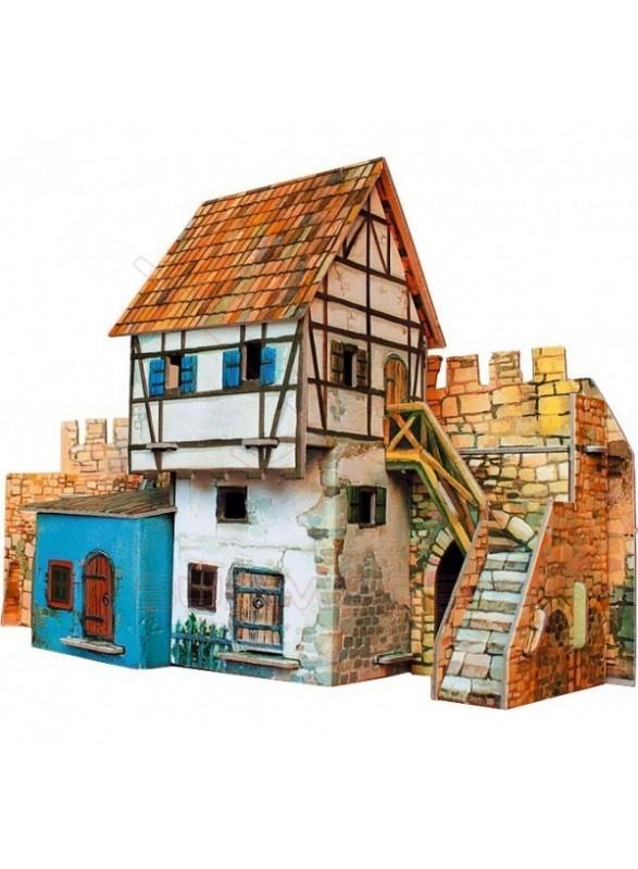 Maqueta papel casa muralla