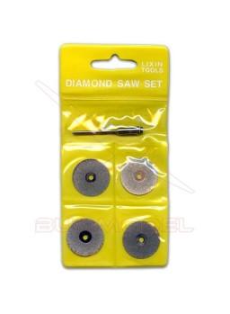 Jgo. de 4 discos diamantados con eje, 25 mm diam.