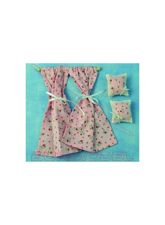 Cortinas rosas con cojines