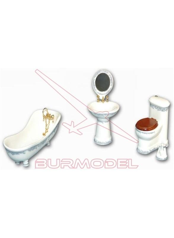 Juego de baño porcelana modelo azucena