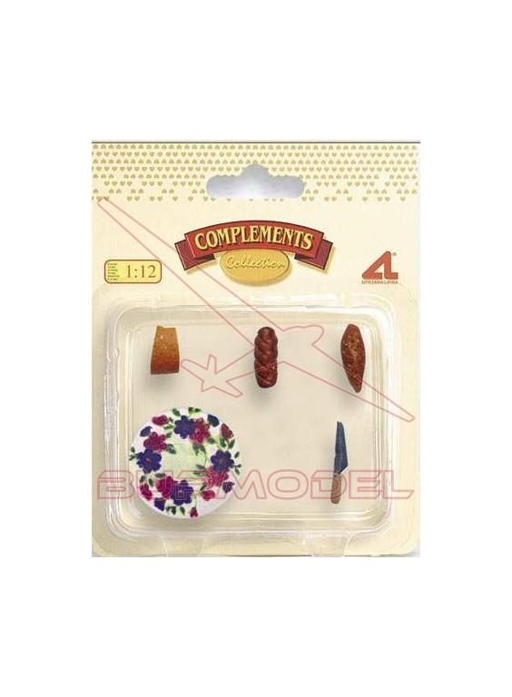 Pack accesorios cocina (plato, pan y queso)