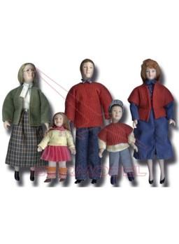 Familia 5 personajes de porcelana