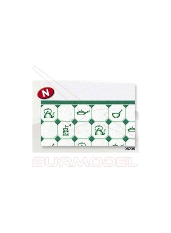 Papel azulejos cocina verde