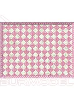 Papel casitas de muñecas cuadrícula mármol rosa