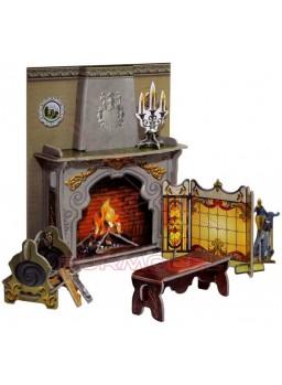 Maqueta papel chimenea casa de muñecas