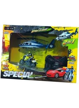 Conjunto helicóptero y moto radio control