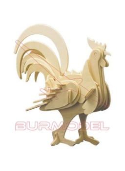 Maqueta madera montaje de un gallo.