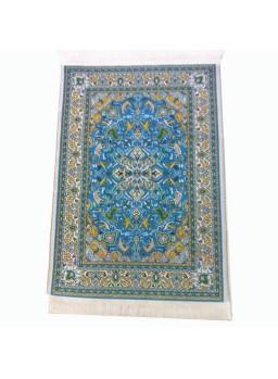 Alfombra persa 24 x 15 azul, amarill y verde