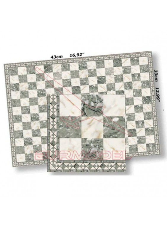 Papel casitas de muñecas mármol cuadrícula gris
