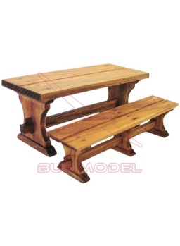 Mesa merendero con banco estilo rústico