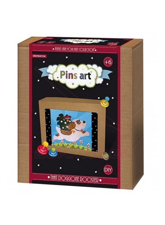 Kit creativo Pins Art. Perro con gallo.