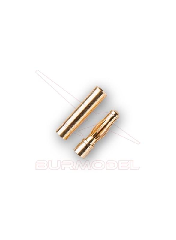 Conector dorado 3mm (macho hembra)