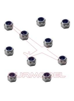 Tuercas autoblocantes 3mm color aluminio 10uds
