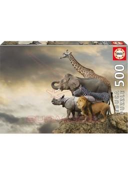 Puzzle 500 piezas animales al borde del abismo