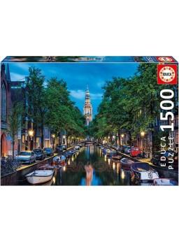Puzzle 1500 piezas Oscurece en el Canal, Ámsterdam