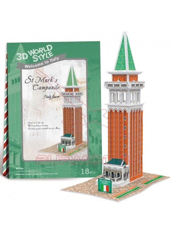 Puzzle 3D Campanario de San Marcos 18 piezas